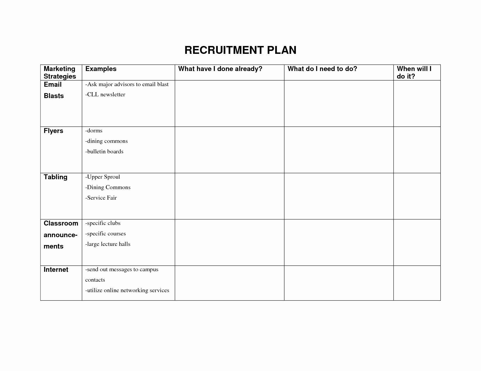 Recruitment Strategic Plan Template Elegant Recruitment Strategy Template – Emmamcintyrephotography
