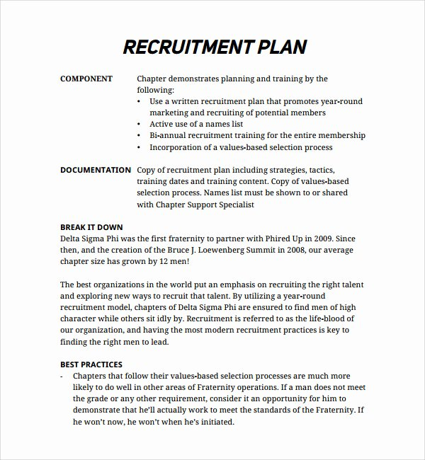 Recruitment Strategic Plan Template Unique Recruiting Plan Examples – Emmamcintyrephotography