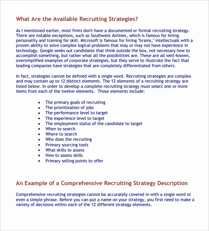 Recruitment Strategy Plan Template Awesome Hr Strategy Template 31 Word Pdf Documents Download