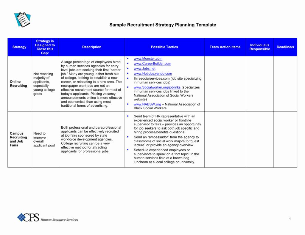 Recruitment Strategy Plan Template Inspirational Strategic Recruiting Plan Template Tripdrip