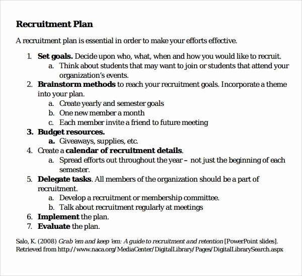 Recruitment Strategy Plan Template Luxury Sample Recruiting Plan Template 9 Free Documents In Pdf