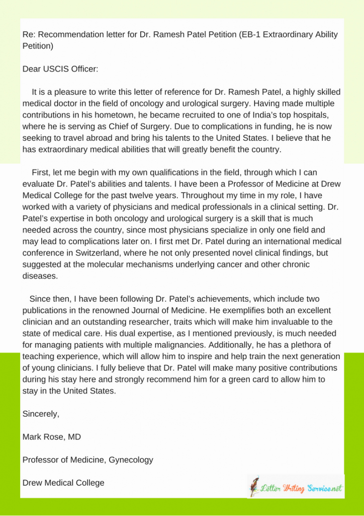 Reference Letter Vs Recommendation Letter Elegant Green Card Reference Letter Eb1 Eb2 O1 format Samples