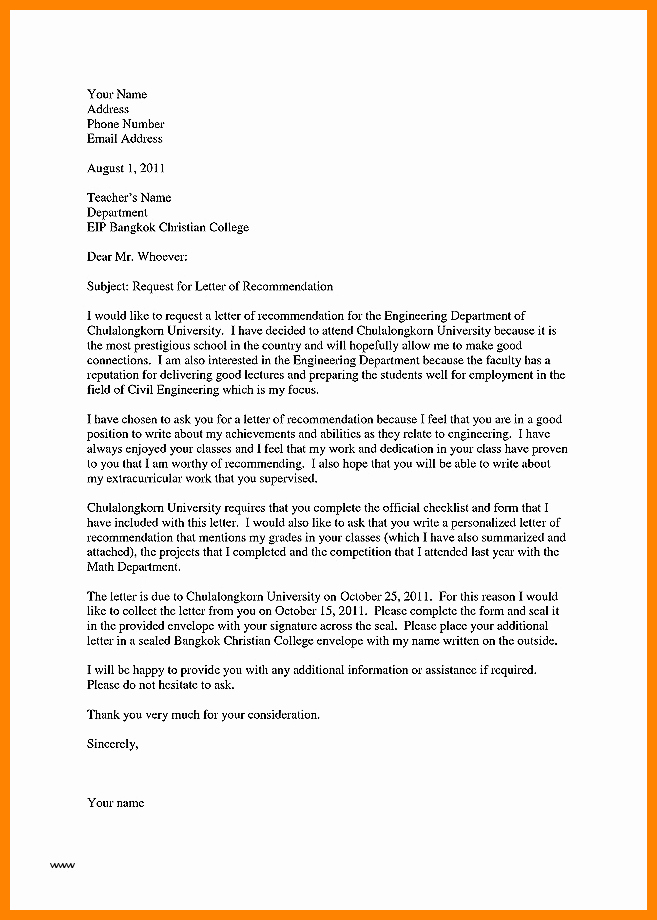 Reference Letter Vs Recommendation Letter Unique 7 Letter Of Re Mendation for Teacher Of the Year