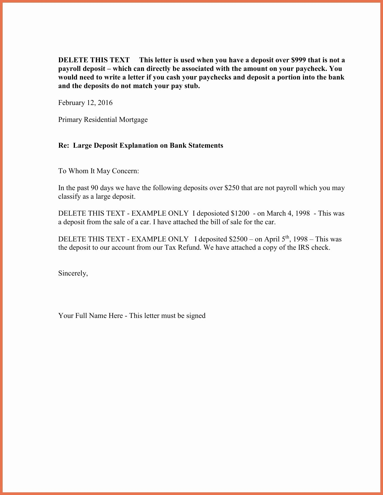 Refinance Letter Template Elegant Cash Out Refinance Letter Explanation Template
