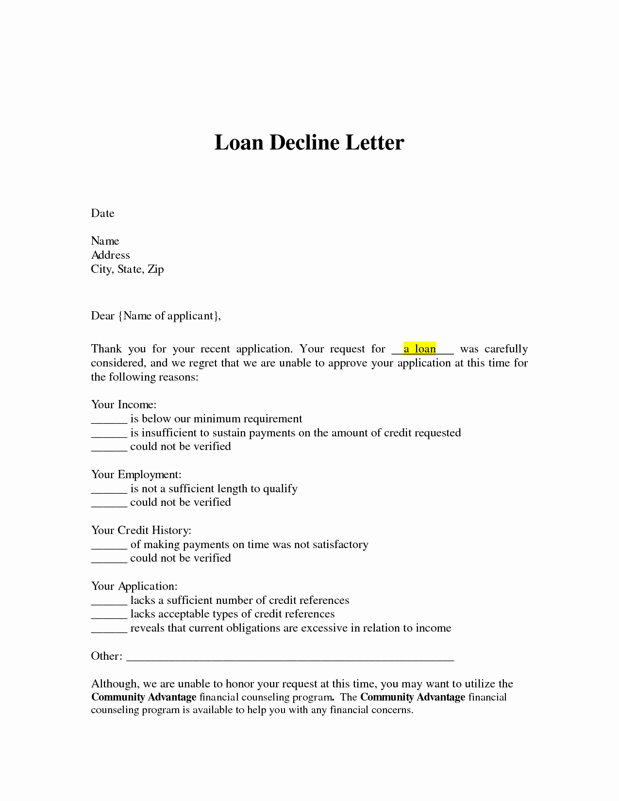 Refinance Letter Template Inspirational Loan Decline Letter Loan Denial Letter Arrives You Can