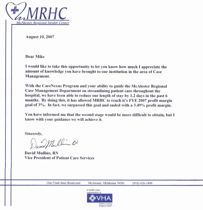 Registered Nurse Letter Of Recommendation Awesome Testimonials Hospital Case Management Llc