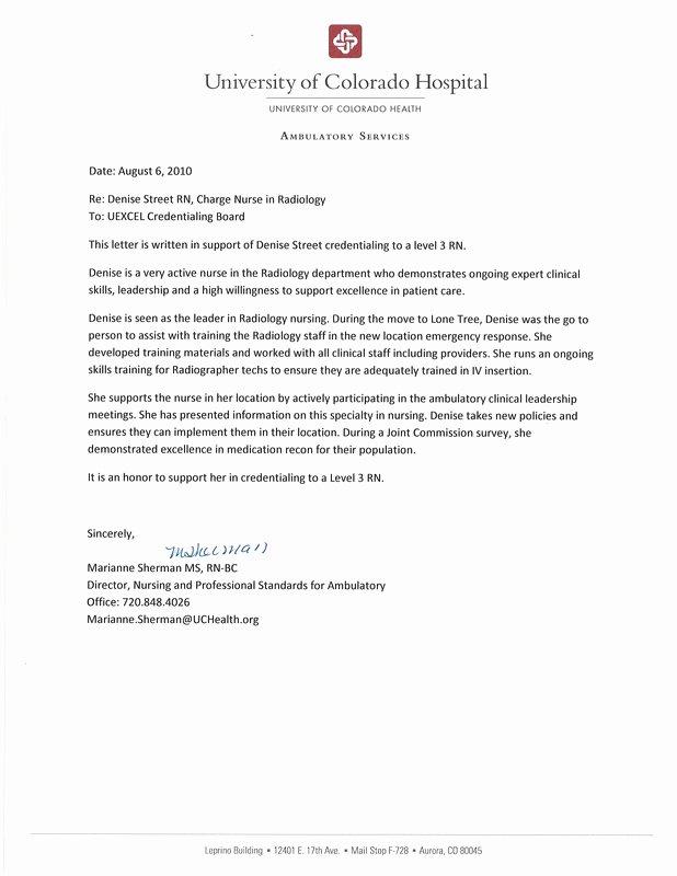Registered Nurse Letter Of Recommendation Inspirational Letters Of Re Mendation Densie Street Rn Bsn Level 3