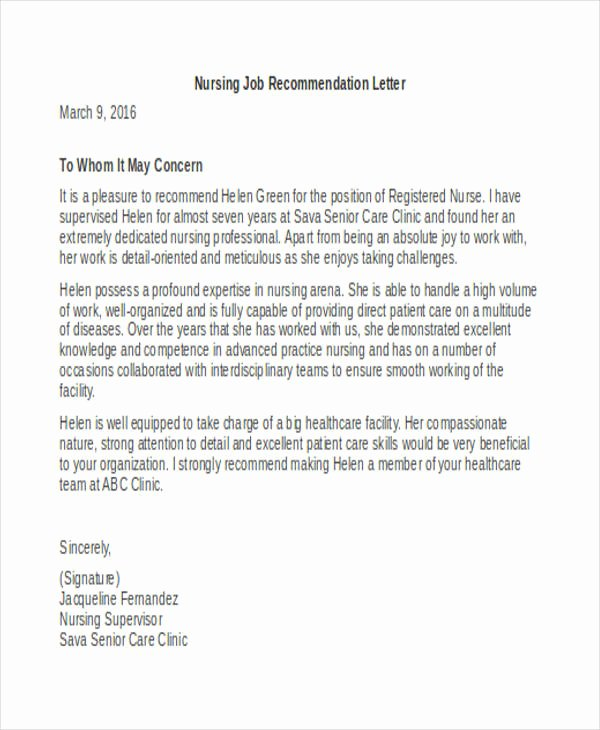Registered Nurse Letter Of Recommendation New 45 Free Re Mendation Letter Templates