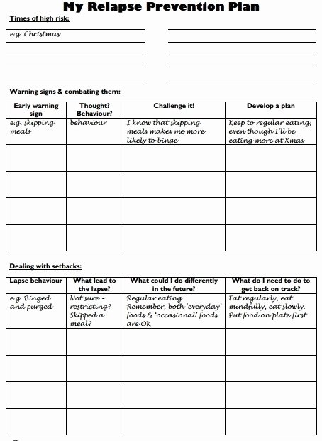 Relapse Prevention Plan Template Awesome Relapse Prevention Plan Worksheet