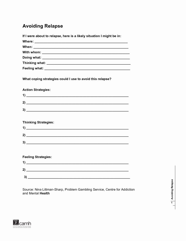 Relapse Prevention Plan Template Elegant Addiction Recovery Plan Worksheet – Myfountainonline