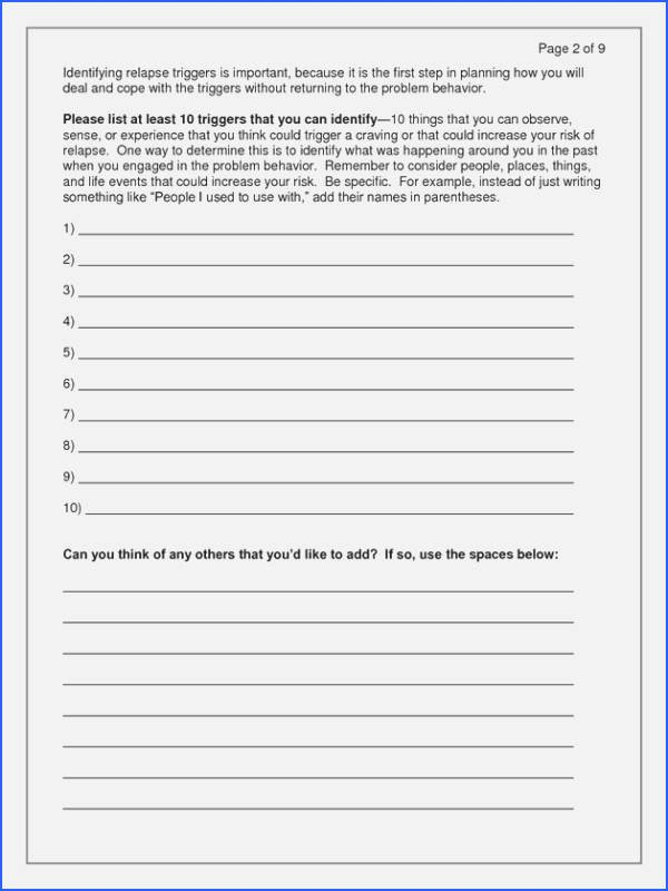 Relapse Prevention Plan Worksheet Template New Relapse Prevention Plan Worksheet
