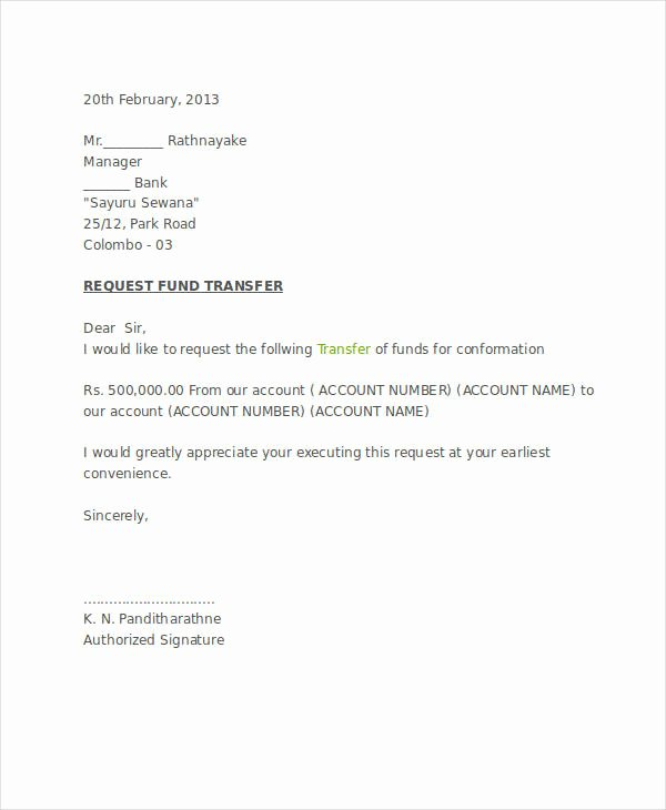 Release Of Funds Letter Beautiful 10 Fund Transfer Letter Templates Pdf Doc Apple Pages