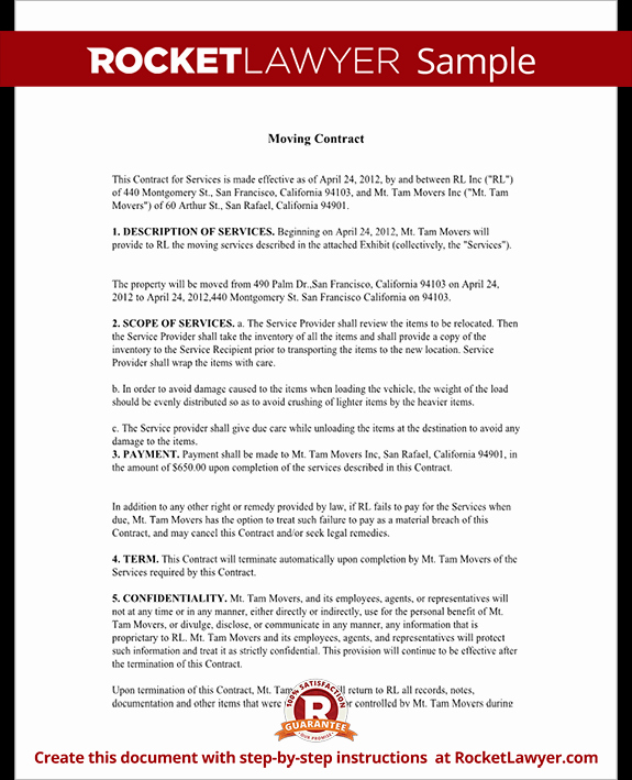 Relocation Agreement Letter Fresh Moving Contract Moving Pany Contract Template form
