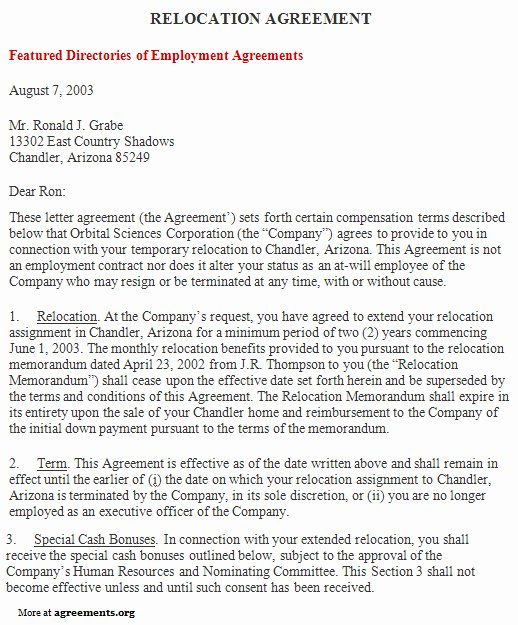 Relocation Agreement Letter Fresh Relocation Agreement Sample Relocation Agreement Template