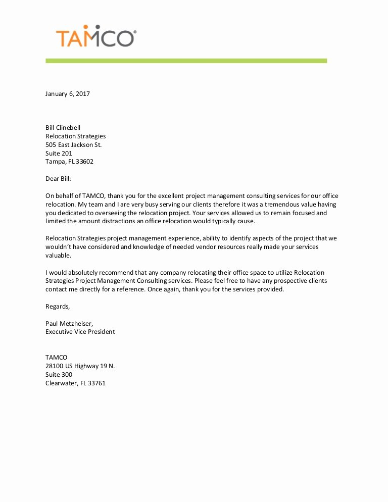 Relocation Agreement Letter Unique Rst Reference Letter From Tamco
