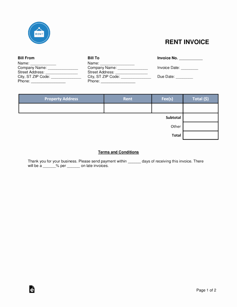Rent Invoice Template Pdf Luxury Free Rental Monthly Rent Invoice Template Word