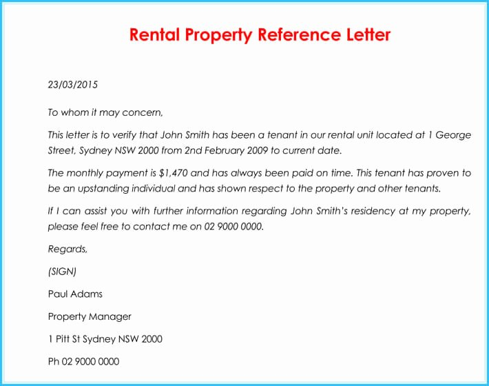 Rent Letter Of Recommendation Awesome Rental Reference Letter 9 Sample Letters formats and