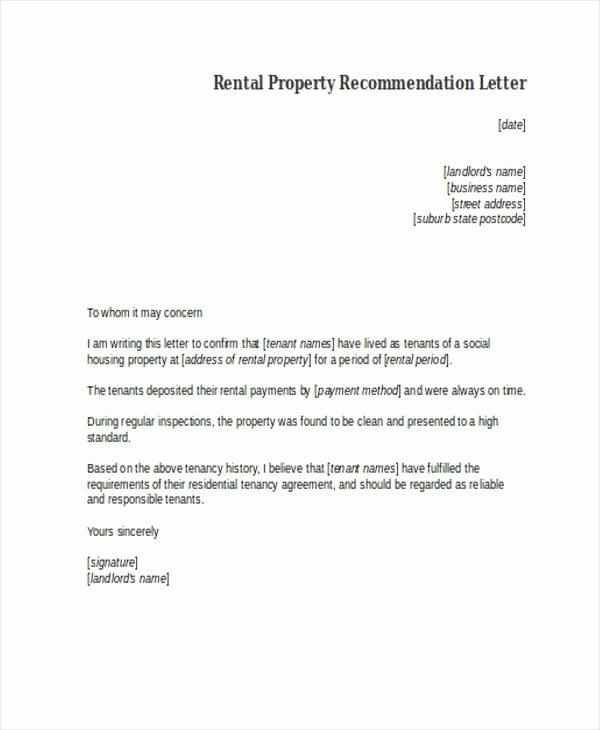 Rent Letter Of Recommendation Fresh Landlord Re Mendation Letter Sample