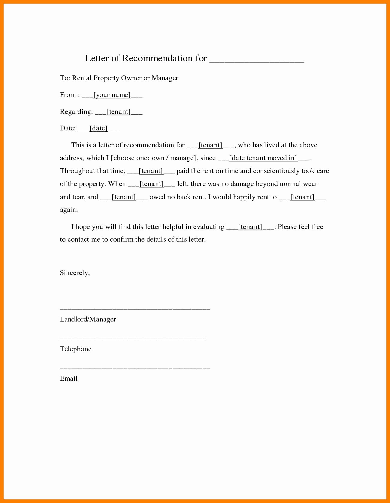 Rent Letter Of Recommendation Inspirational 7 Rental Re Mendation Letter Best solutions Sample