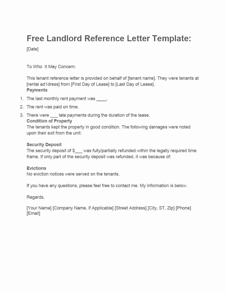 Rent Letter Of Recommendation Luxury 40 Landlord Reference Letters & form Samples Template Lab