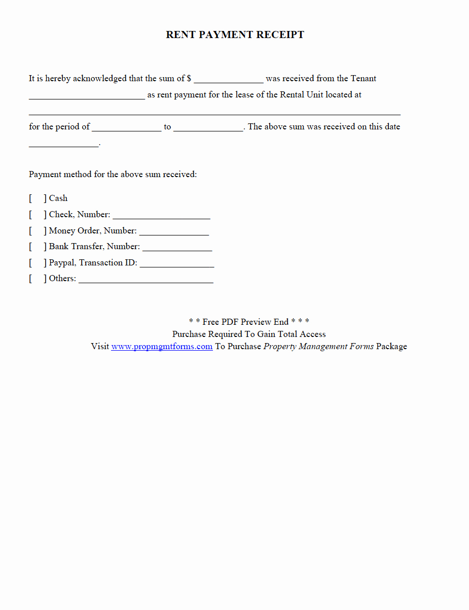 Rent Payment Receipt Template New Property Management forms