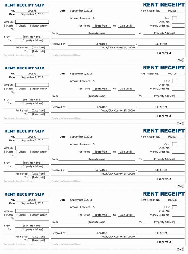 Rent Receipt Filled Out Inspirational Rent Receipt