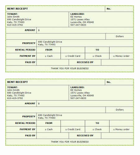 Rent Receipt Template Excel Lovely 10 Free Rent Receipt Templates