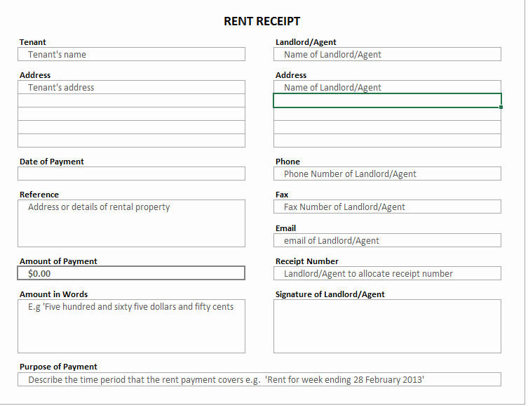 Rent Receipt Template Excel Lovely 6 Free Rent Receipt Templates format Example