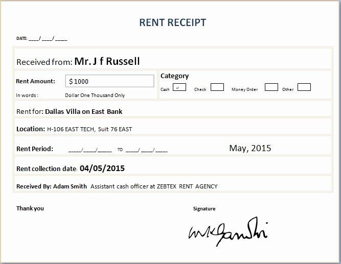 Rent Receipt Template Excel Lovely formal Rent Receipt Template
