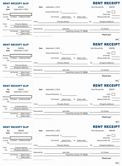 Rent Receipt Template Excel Unique Rent Receipt