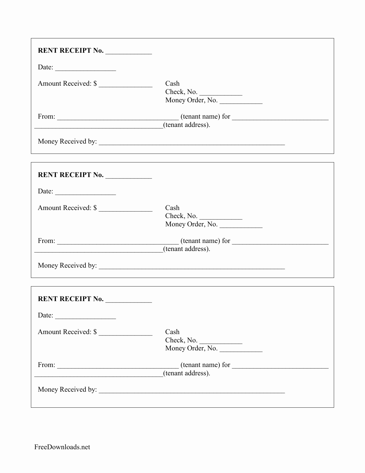 monthly rental payment receipt template