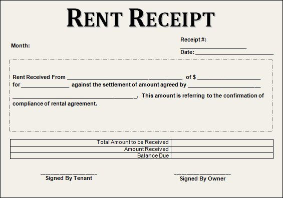 Rent Receipt Templates Free New 21 Rent Receipt Templates