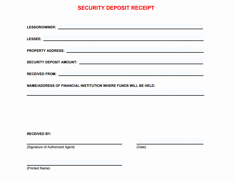 Rental Deposit Receipt Template Awesome 5 Free Security Deposit Receipt Templates Word Excel