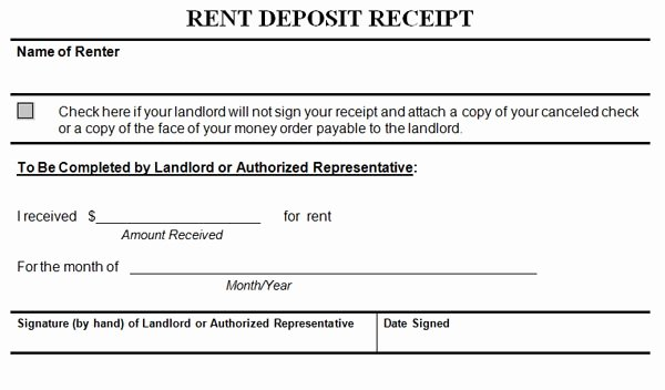 Rental Deposit Receipt Template Beautiful Rent Deposit Receipt