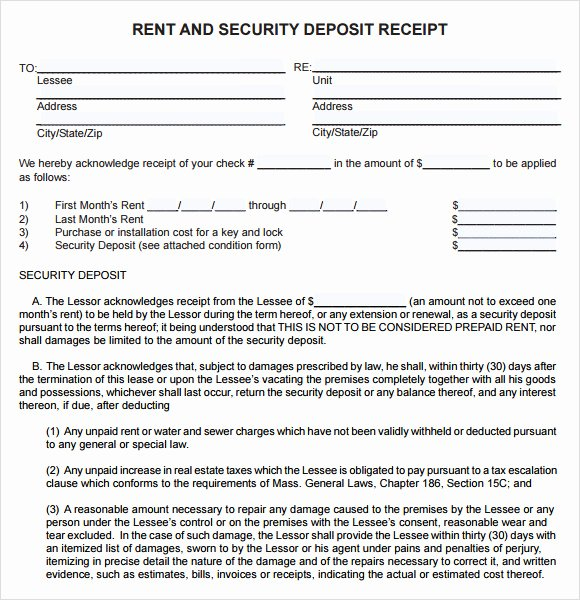 Rental Deposit Receipt Template Best Of 8 Deposit Receipt Templates Free Samples Examples format