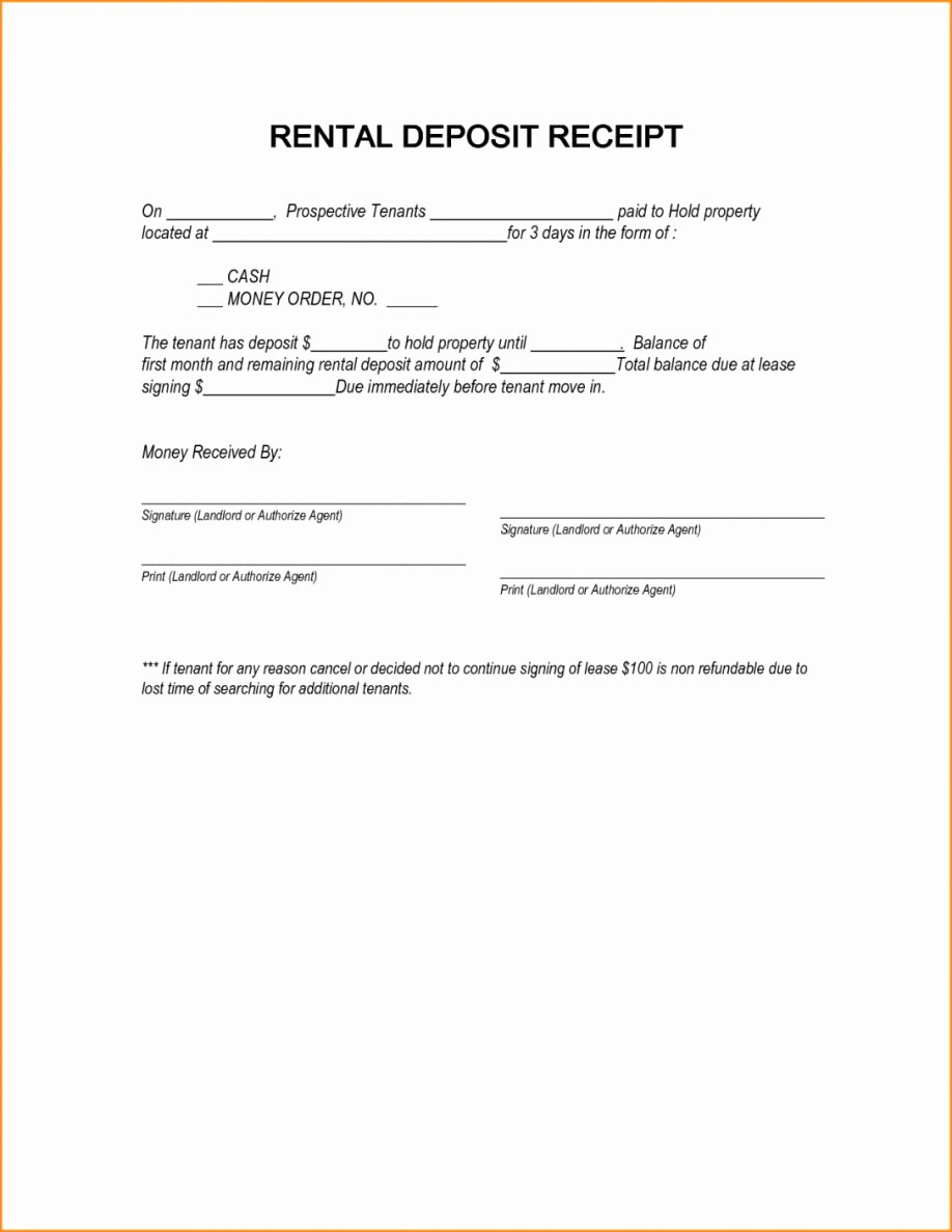 Rental Deposit Receipt Template Unique Receipt Deposit Letter Examples Rental Template for