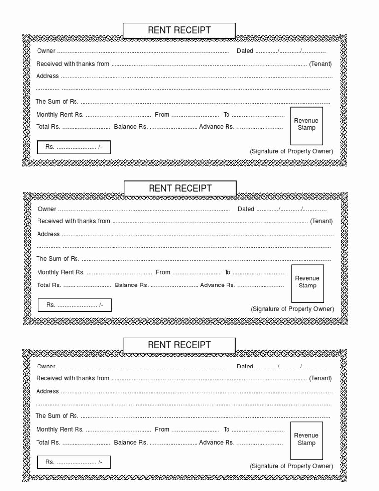 Rental Receipt Template Pdf Elegant Rent Receipt