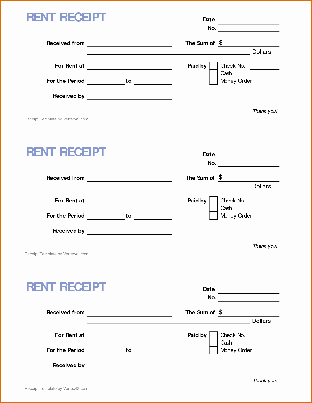 Rental Receipt Template Pdf Inspirational 4 Printable Rent Receipt