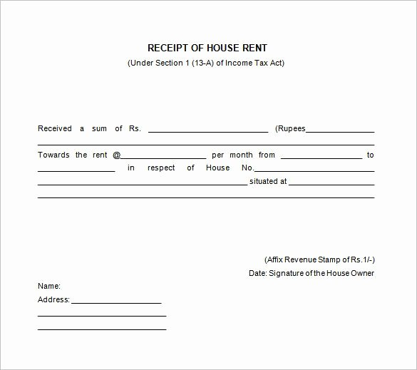 Rental Receipt Template Pdf Inspirational House Rent Receipt Templates Receipt Of House Rent