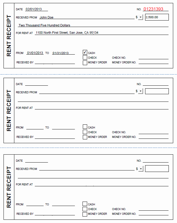 Rental Receipt Template Pdf Luxury Printable Rent Receipt In Pdf form