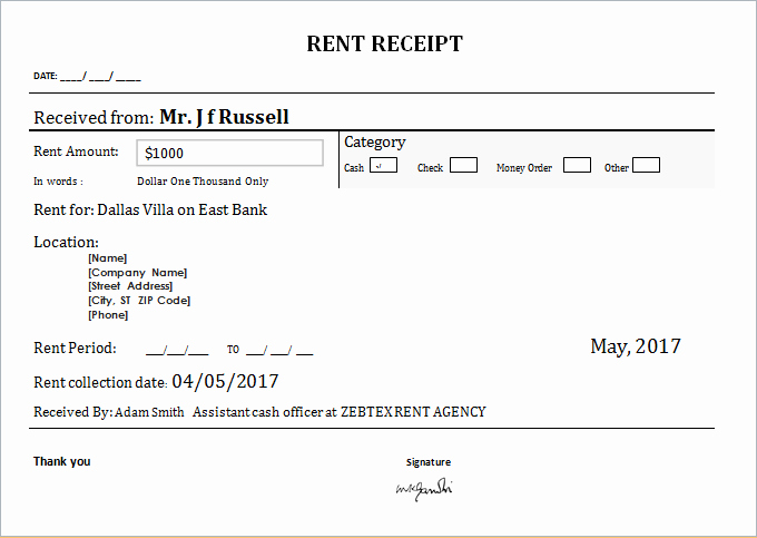 Rental Receipts Template Word Inspirational Rent Receipt Template Microsoft Office Ms Word Rental