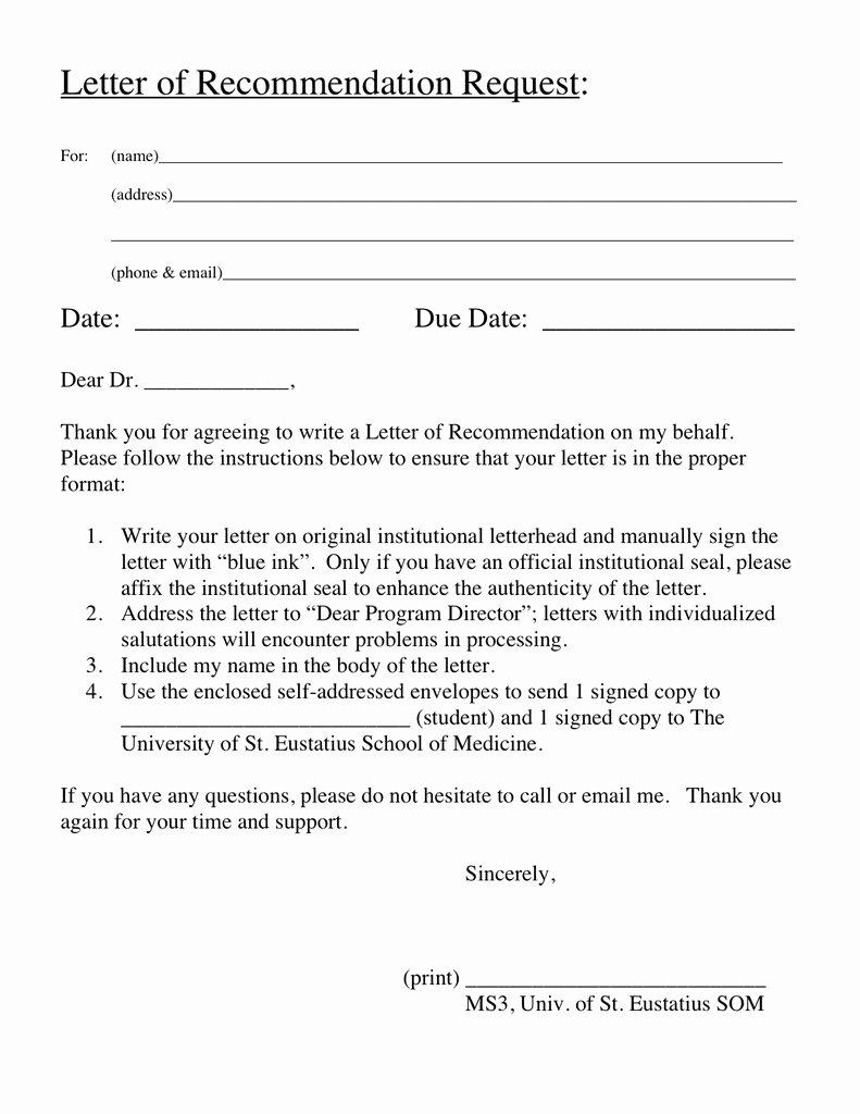 Request for Recommendation Letter Sample Elegant Statia Med Stateside Return Step I Clinicals Step Ii