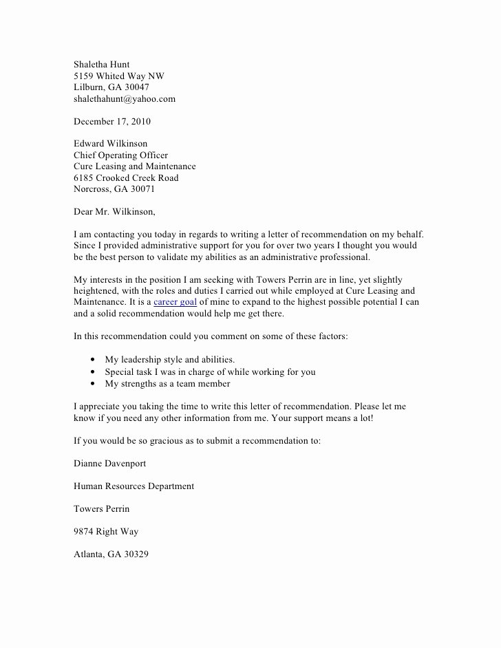 Request Letter Of Recommendation Sample Inspirational Request for Re Mendation Letter