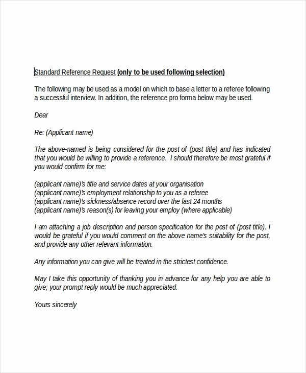 Request Letter Of Recommendation Template Luxury Employment Reference Letter 8 Free Word Excel Pdf
