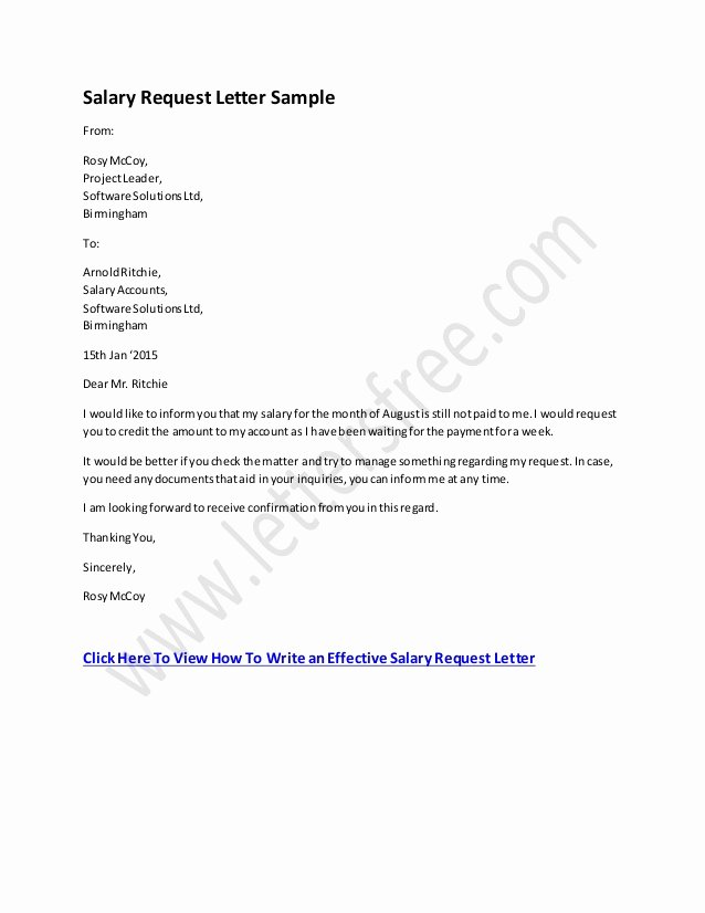 Request Letter Sample format Elegant Salary Request Letter format
