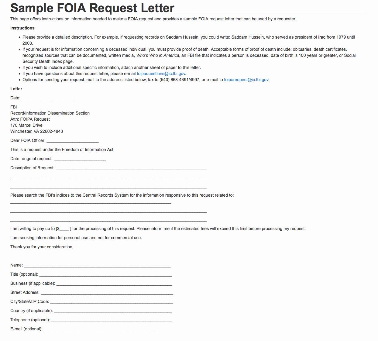 Request Letter Sample format Elegant Sample Foia Request Letter — Fbi