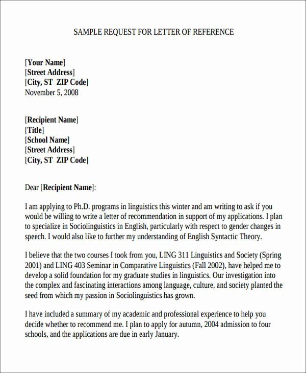 Requesting A Letter Of Recommendation New Sample Academic Reference Letter 5 Examples In Pdf Word