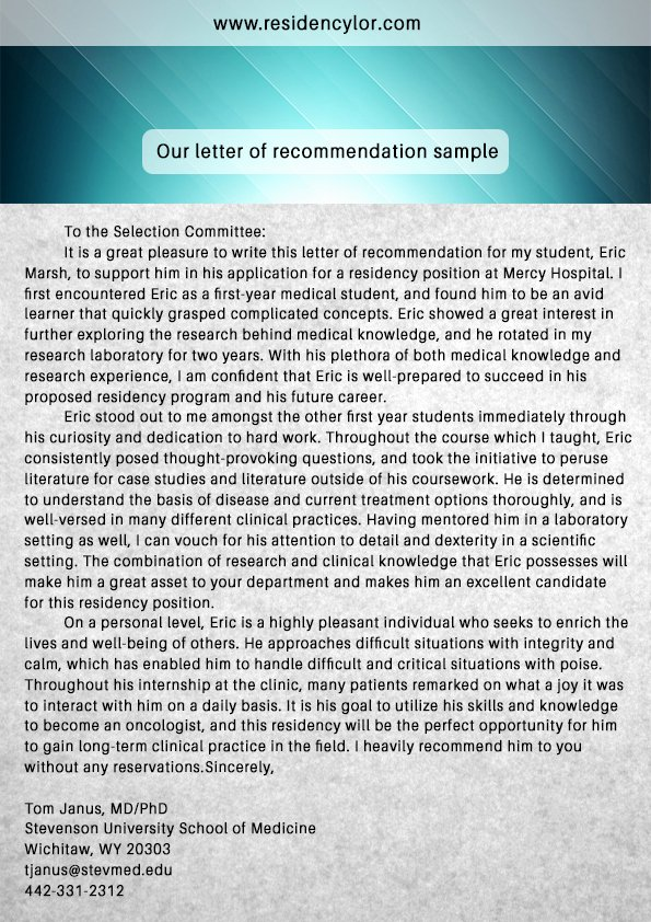 Residency Letter Of Recommendation Lovely Professional Medical Re Mendation Letter for Residency