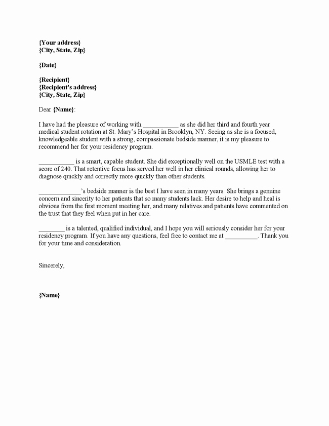 Residency Letter Of Recommendation Sample Lovely Sample Letter Of Re Mendation for Internal Medicine