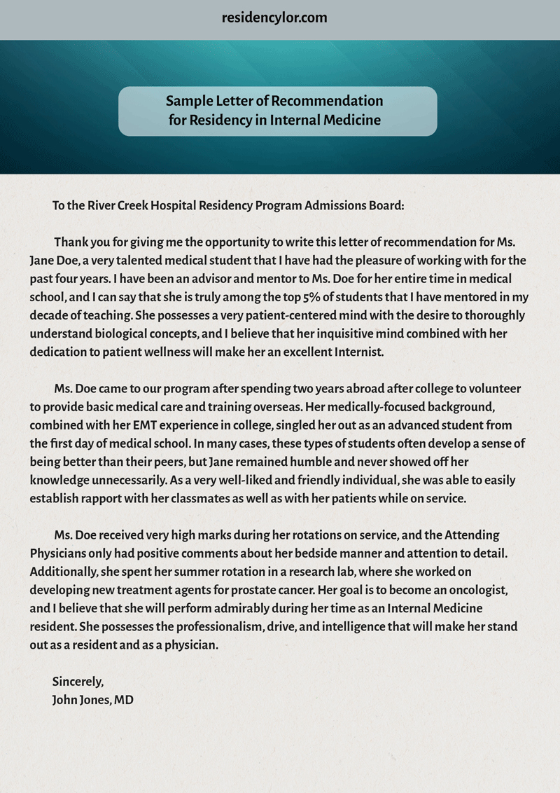 Residency Letter Of Recommendation Sample Unique Professional Medical Re Mendation Letter for Residency